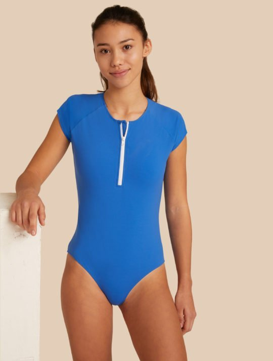 maillot de bain 1 pièce bleu ado fashion ultra stretch