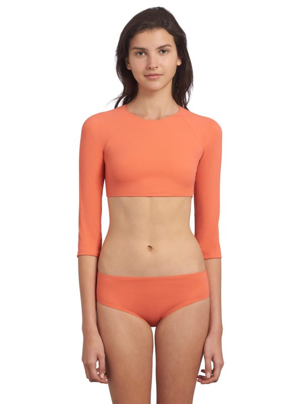 maillot de bain 2 pièces ado orange anti UV ultra stretch